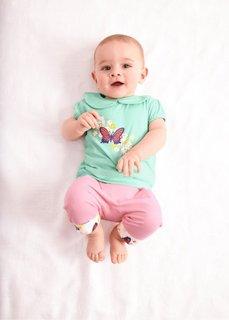 Мода для малышей: футболка из биохлопка (2 шт.), Размеры  56/62-104/110 (нежно-мятный/цвет белой шерсти) Bonprix