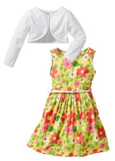 Платье + ремень + болеро (3 изд.) (белый с рисунком бабочек) Bonprix