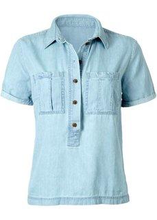 Джинсовая рубашка с коротким рукавом (синий) Bonprix