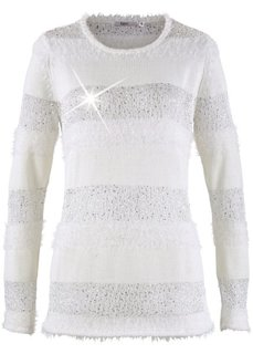 Пуловер с пайетками (черный в полоску) Bonprix