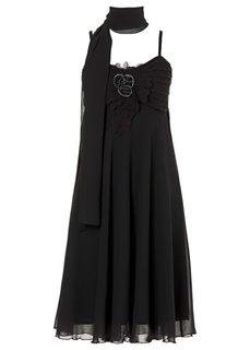 Платье + шарфик (2 изд.) (коричневый матовый) Bonprix