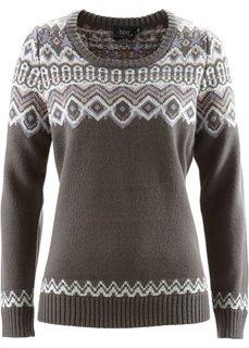 Пуловер (красный с узором) Bonprix