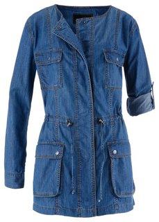 Удлиненная джинсовая куртка (голубой выбеленный) Bonprix