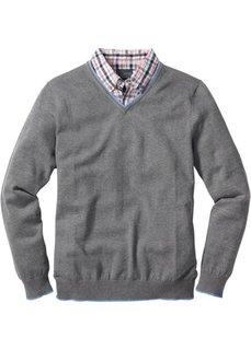 Пуловер покроя Regular Fit 2 в 1 (нежно-голубой меланж) Bonprix