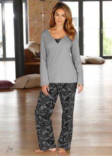 Пижама (серый/черный) Bonprix