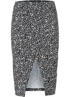 Трикотажная юбка с запахом (черный) Bonprix