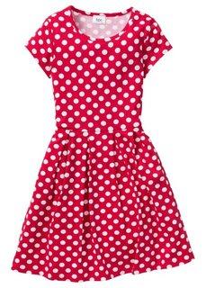 Трикотажное платье с принтом, Размеры  116/122-164/170 (черный/белый в горошек) Bonprix