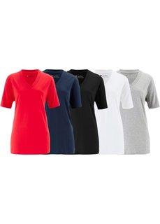 Удлиненная футболка с коротким рукавом (5 шт.) (карибский синий + темно-изумру) Bonprix