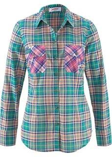 Клетчатая рубашка с длинным рукавом (ярко-розовый в клетку) Bonprix