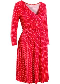 Трикотажное платье для будущих и кормящих мам (черный/экрю в горошек) Bonprix