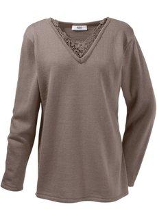 Удлиненный пуловер с кружевом (натуральный камень) Bonprix