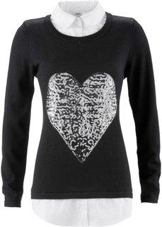 Пуловер 2 в 1 с длинным рукавом (серый меланж) Bonprix