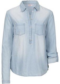 Джинсовая рубашка с длинным рукавом (синий) Bonprix