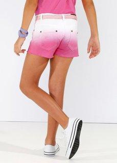 Твиловые шорты с переходом расцветок, Размеры  116-170 (белый/ярко-розовый фламинго) Bonprix