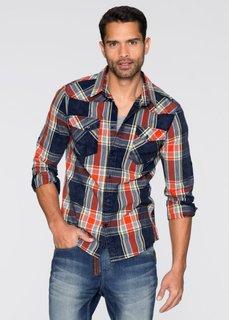 Рубашка Slim Fit с длинным рукавом (темно-синий/оранжевый в клетку) Bonprix