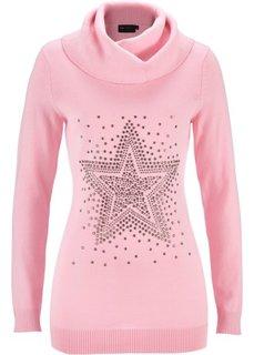 Пуловер с высоким воротом и звездой из стразов (черный) Bonprix