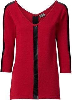 Пуловер со вставками из искусственной кожи (черный) Bonprix