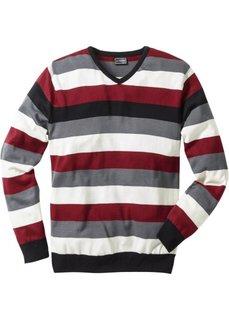 Пуловер Slim Fit (белый/серый/бирюзовый в полоск) Bonprix