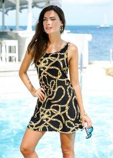 Пляжное платье из купального материала (черный с рисунком) Bonprix