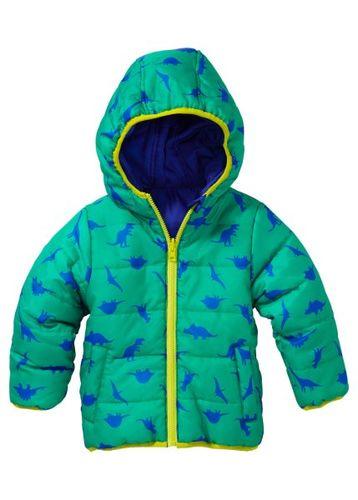 Двухсторонняя куртка с капюшоном, Размеры  80/86-128/134 (ночная синь с принтом/зеленый )
