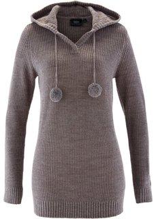 Удлиненный пуловер с капюшоном (красный) Bonprix