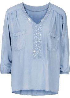 Блузка с пайетками (зеленый) Bonprix