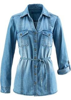 Удлиненная джинсовая рубашка (темно-синий) Bonprix