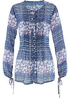 Шифоновая блузка с цветочным принтом (серо-коричневый с рисунком) Bonprix