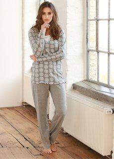 Пижама (серый меланж с рисунком) Bonprix