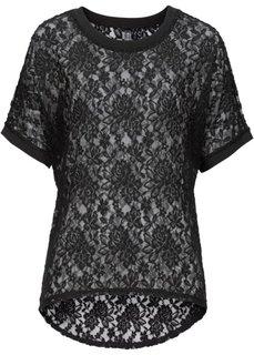 Кружевная футболка с коротким рукавом (индиго) Bonprix