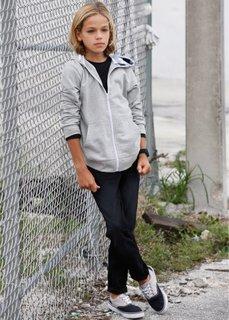 Трикотажная куртка с капюшоном, Размеры 116/122-164/170 (светло-серый меланж) Bonprix