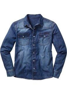 Джинсовая рубашка (голубой выбеленный «потертый») Bonprix