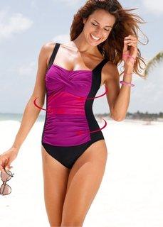 Формирующий купальник (черный/ярко-розовый) Bonprix