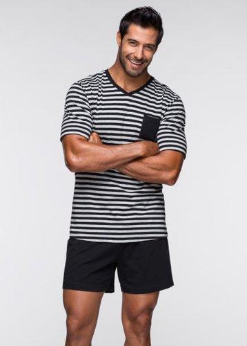 Пижама (черный/светло-серый меланж в п)