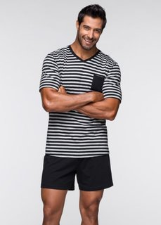 Пижама (черный/светло-серый меланж в п) Bonprix