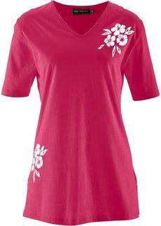 Удлиненная футболка (нежно-розовый/белый) Bonprix