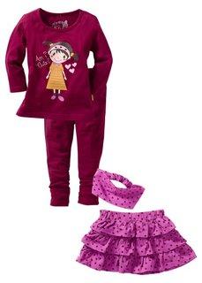 Футболка + юбка + легинсы + бандана, (комплект из 4-х изделий) (розовая пудра/темно-коричневый) Bonprix