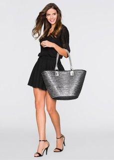 Двухцветная соломенная сумка (черный/серебристый) Bonprix