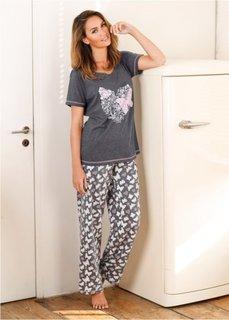 Пижама (антрацитовый меланж с рисунком) Bonprix