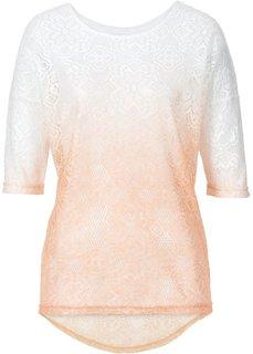 Кружевная футболка (темно-синий/цвет белой шерсти) Bonprix