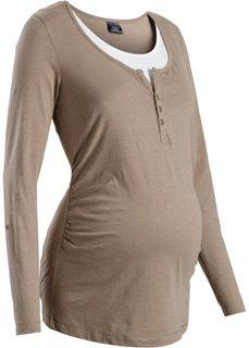Мода для беременных: футболка с длинными рукавами и функцией кормления (серо-синий) Bonprix