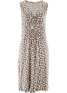 Трикотажное платье с принтом (черный/серо-коричневый) Bonprix