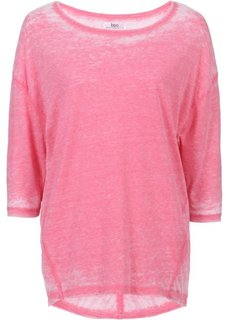 Асимметричная футболка с рукавом 3/4 (синий меланж) Bonprix