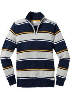 Пуловер Regular Fit с воротником-стойкой (синий джинсовый) Bonprix
