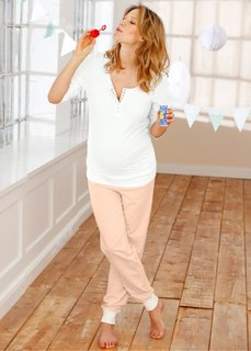 Пижама для будущих и кормящих мам (экрю/персиковый) Bonprix