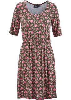 Трикотажное платье-стретч (матовый ярко-розовый в цветоче) Bonprix