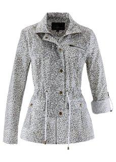 Удлиненная куртка с леопардовым принтом (розовая пудра/нейтрально-серый) Bonprix