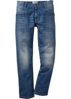 Джинсы Regular Fit Straight, низкий + высокий рост (U + S) (голубой) Bonprix