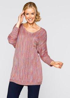 Пуловер с рукавом 3/4 (ярко-розовый матовый с узором) Bonprix