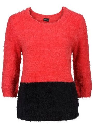 красный пуловер спицами для женщин